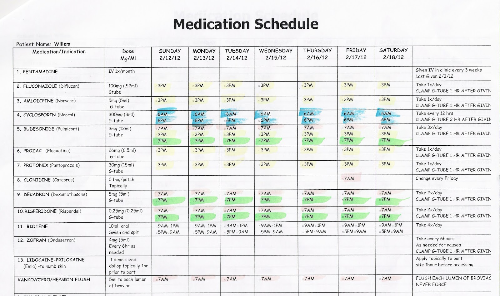 Medication Schedule Forms