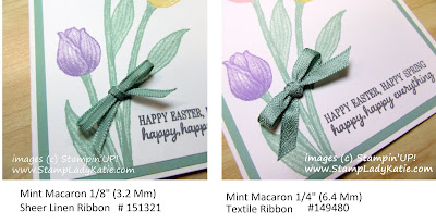 Easter Card made with Stampin'UP! Timeless Tulips stamp set and Mint Macaron Ribbon