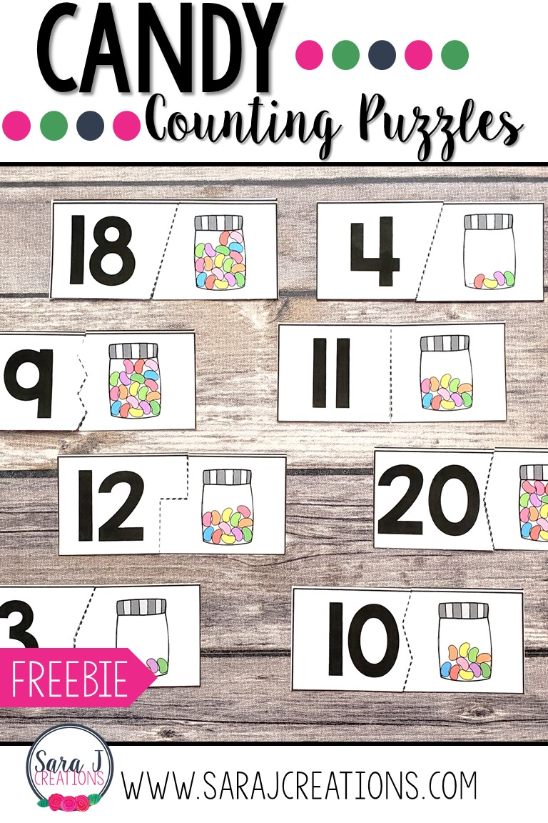 Help your preschool or kindergarten students practice counting the numbers 1-20 with these free candy counting puzzles. These printables make an easy to use activity for centers, sensory bins, small group play, math time and more.