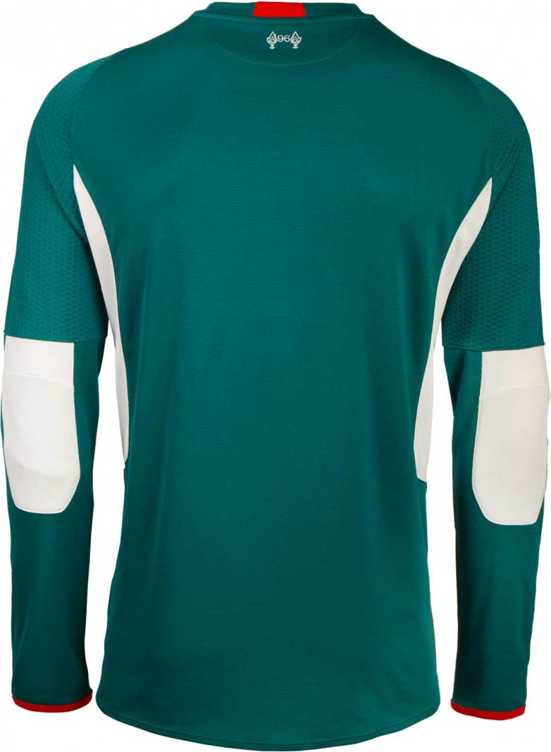 8d7eb40f1bf The new Liverpool FC 15-16 Goalkeeper Third Kit combines the main color dark  turquoise with white applications and striking red details on the collar  and ...