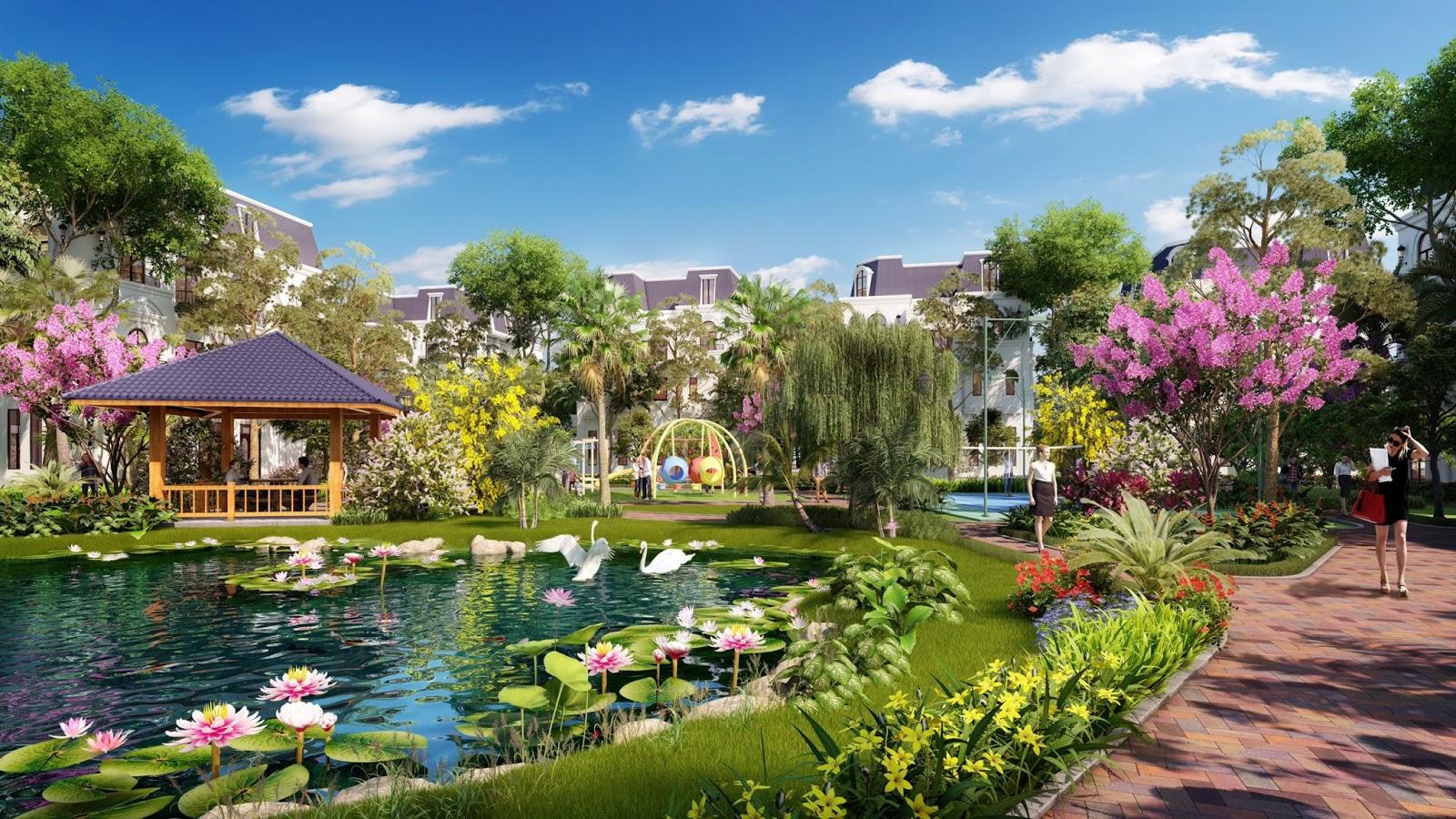 Hồ điều hòa, lá phổi xanh của khu đô thị Tràng Duệ