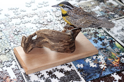 Carved Meadowlark on Perch