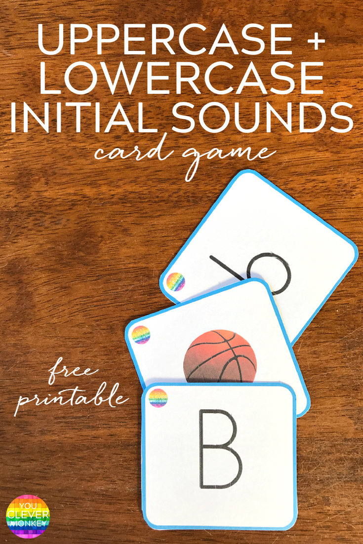 FREE Upper + Lowercase Letter Initial Sound Match Cards | you clever monkey