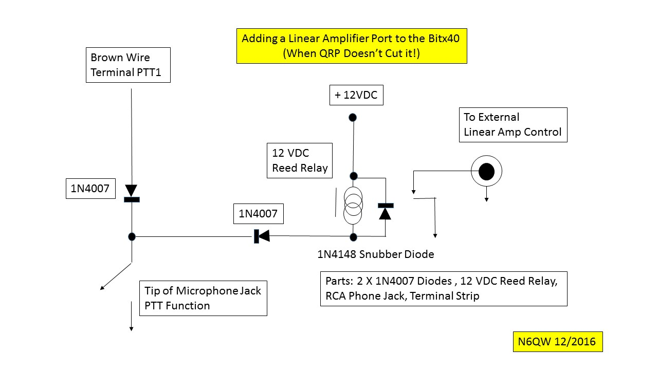 Bitx Hacks Switch An Outboard Linear Amp From Your Bitx40 12v Diode Relay Wiring Diagram Pete N6qw