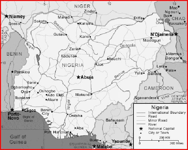 image: Black and white Nigeria map