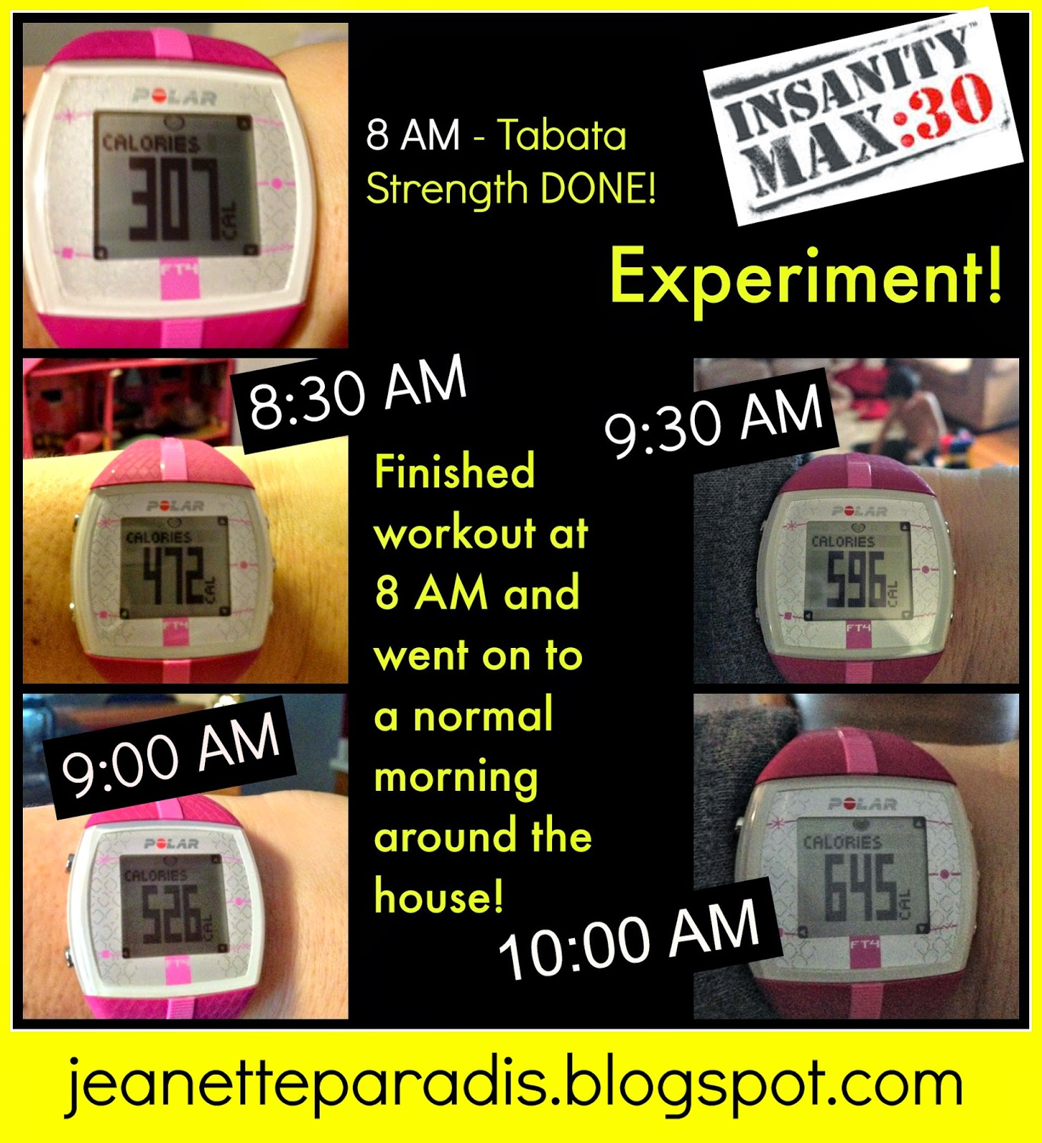 Kitchen Window: Insanity Max 30 - Actual Calories Burned??