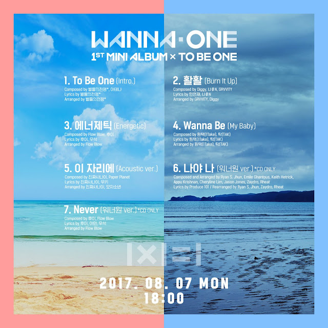 1st mini album wanna one 1x1-1 TO BE ONE track list