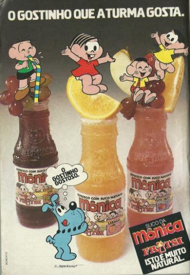 Propaganda antiga da Turma da Mônica promovendo sua linha de refrescos em 1987