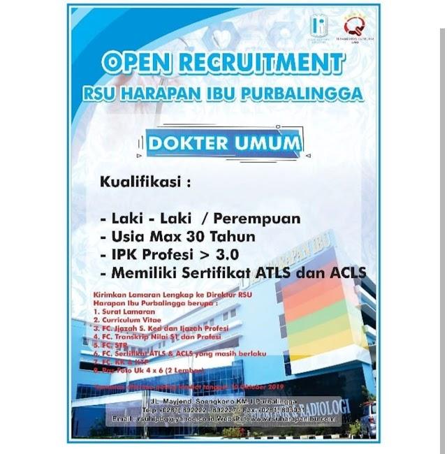 Loker Dokter: Open Recruitment RSU Harapan Ibu Purbalingga
