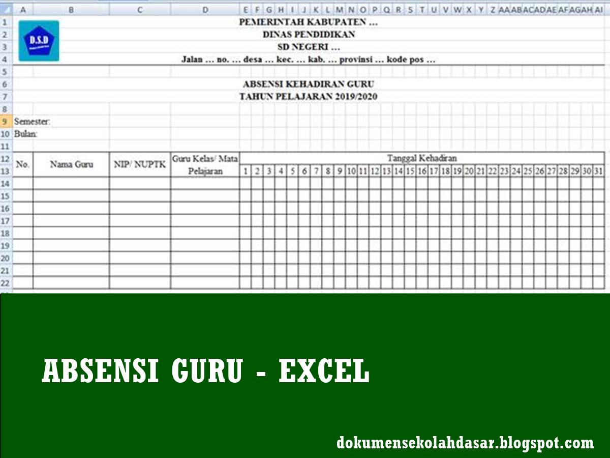 absensi guru format excel