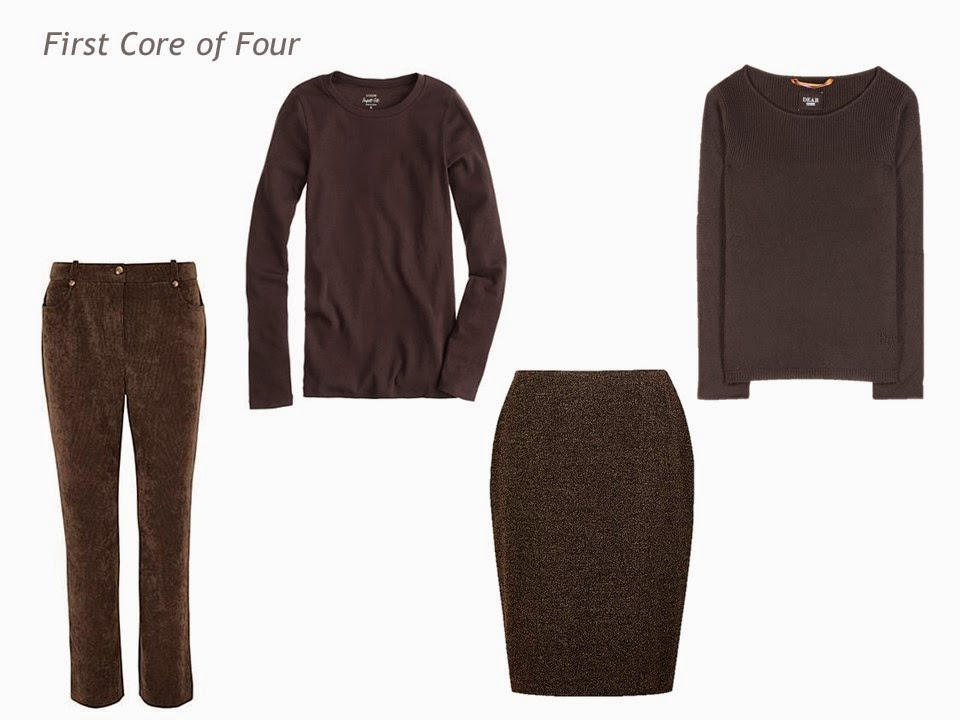 Core of Four garments in brown: corduroy pants, tee shirt, skirt and sweater