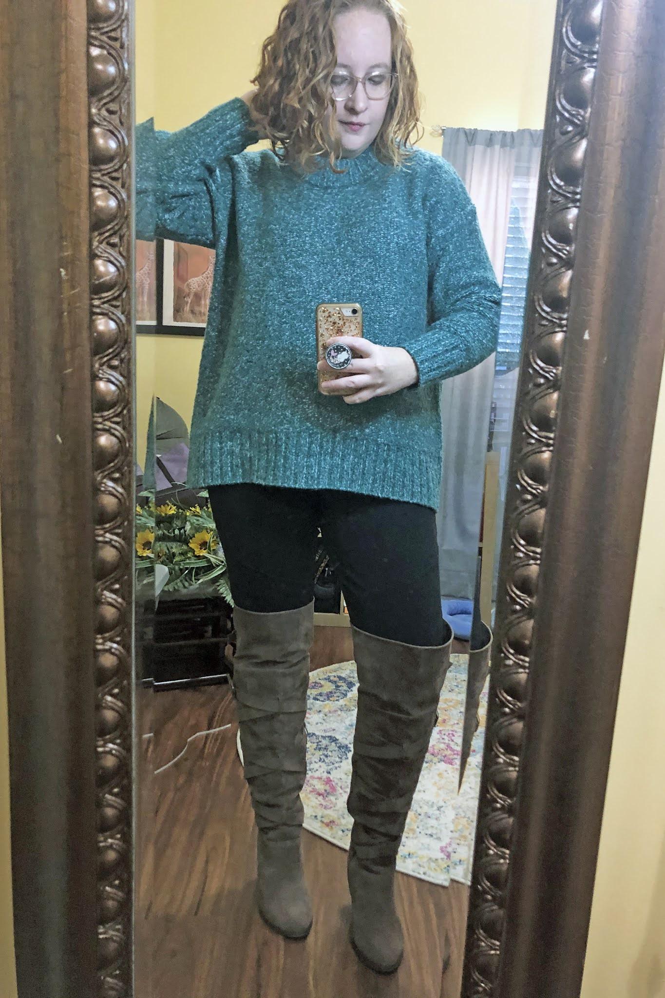 green sweater leggings