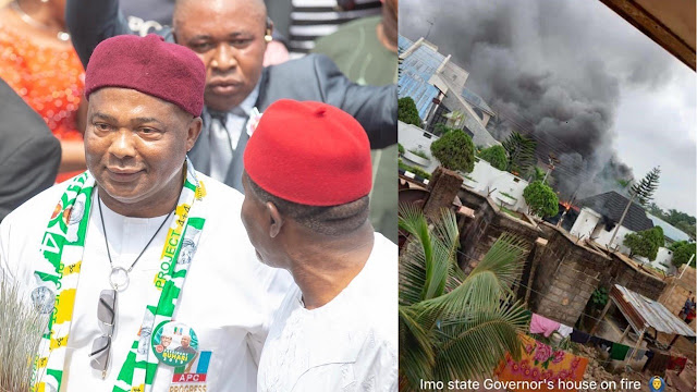 Gov. Hope Uzodinma's Mansion On Fire, As People Fight To Keep Properties Safe (Video)