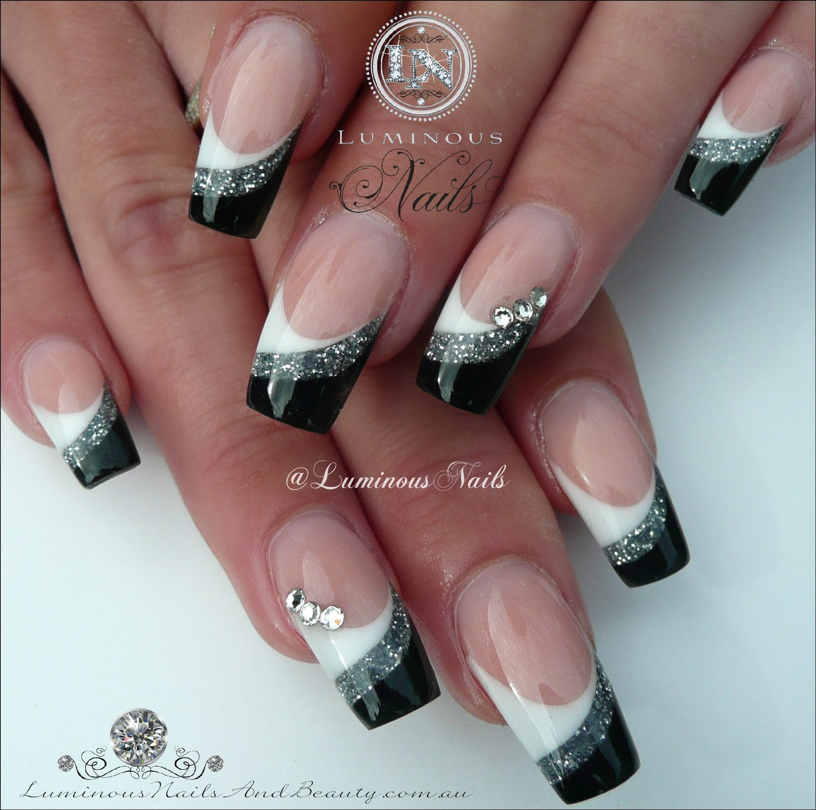 Luminous Nails: White, Silver & Black Acrylic Nails... Inspired By ...