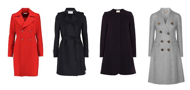 Красное и серое приталенные пальто, черные пальто с поясом и силуэта трапеция