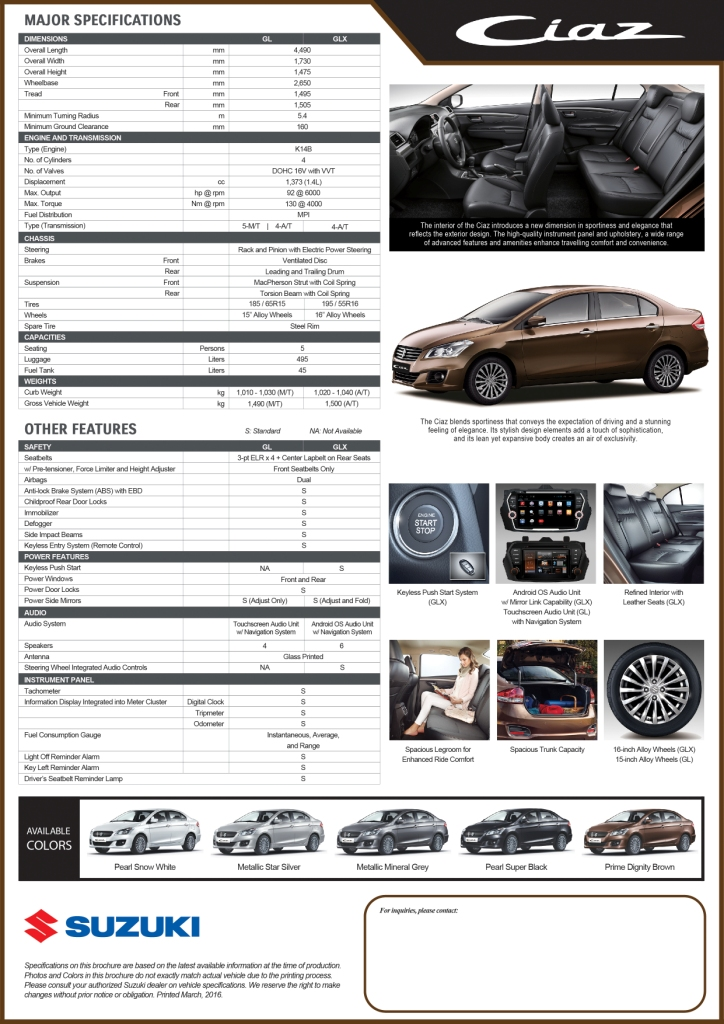 Suzuki Ciaz Specifications