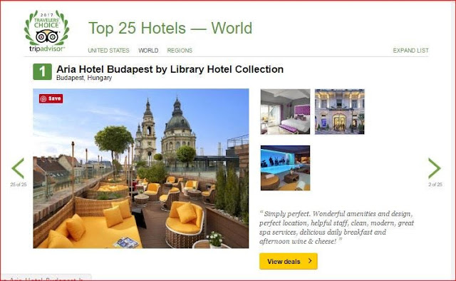 TripAdvisor ranking for Aria Hotel Budapest by Library Hotel Collection