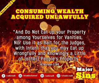 MAJOR SIN. 28.2. CONSUMING WEALTH ACQUIRED UNLAWFULLY