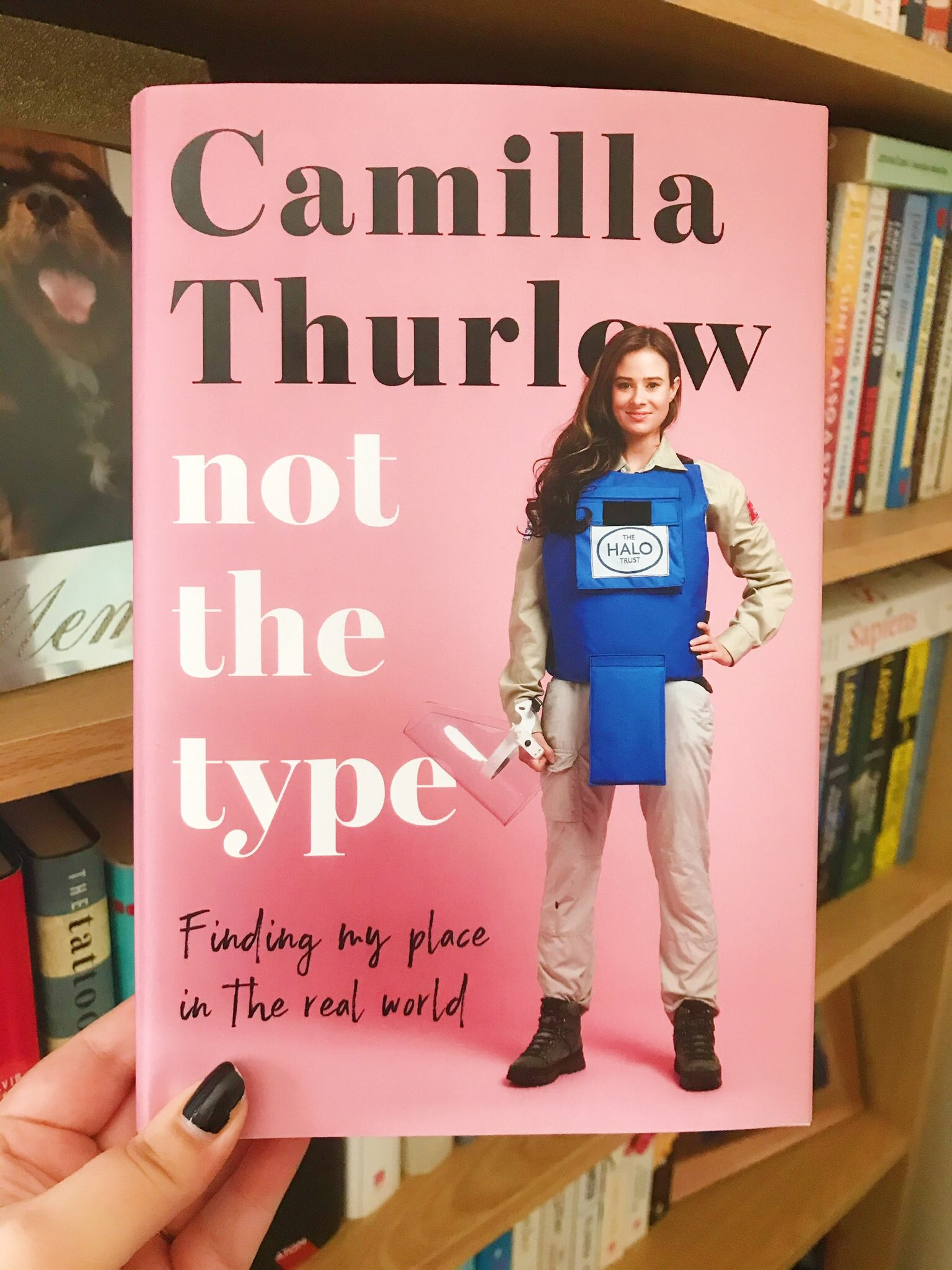 Not The Type by Camilla Thurlow held up in front of bookshelf