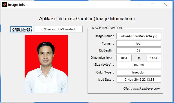 Contoh Aplikasi Untuk Menampilkan Informasi Gambar pada GUI MATLAB