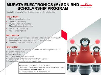Program Biasiswa Daripada Murata Electronics (M) Sdn Bhd Untuk Pelajar USM
