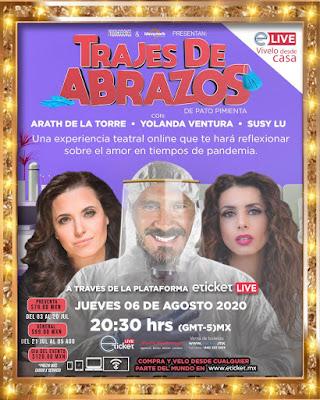 """""""Trajes de Abrazos"""" protagonizada por Arath de la Torre, Yolanda Ventura y Susy Lu será vía Streaming"""
