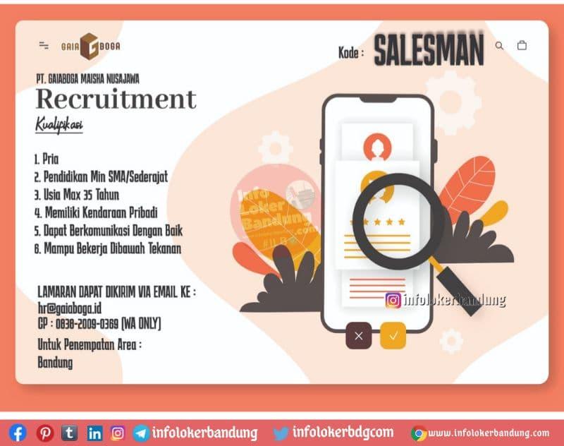 Lowongan Kerja PT. Gaiaboga Maisha Nusajawa Bandung Juni 2021