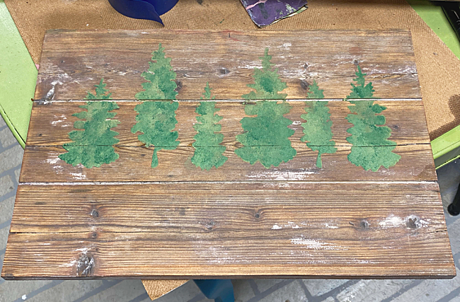 Stenciled green Christmas trees