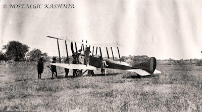 Photograph of the first ever plane that landed in Kashmir at Tattoo Ground - Chandmari, Batmaloo, Srinagar, 1922