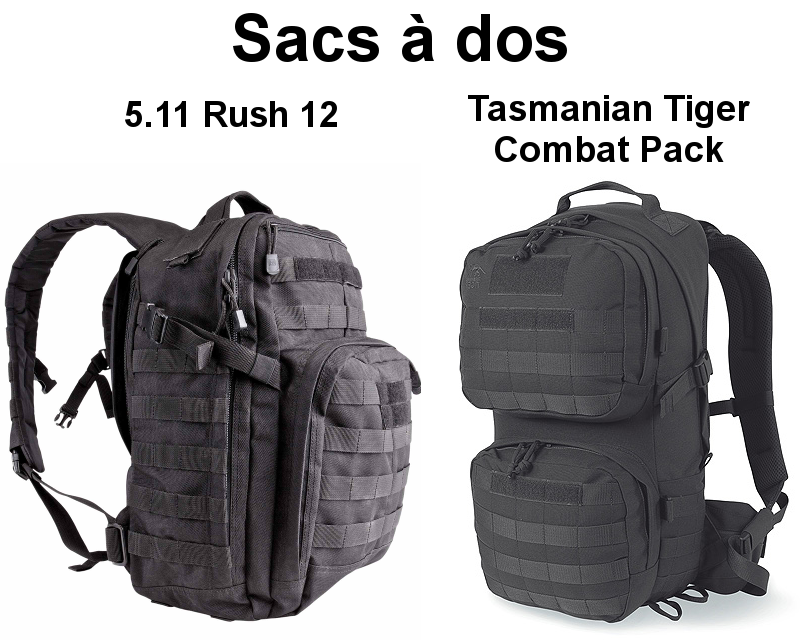 Comparatif sac à dos 5.11 Rush 12 vs Tasmanian Tiger Combat Pack