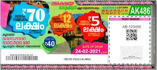 Kerala Lottery Result 24-02-2021 Akshaya AK-486 Lottery Result