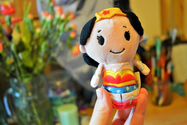 A small soft toy of Wonderwoman.