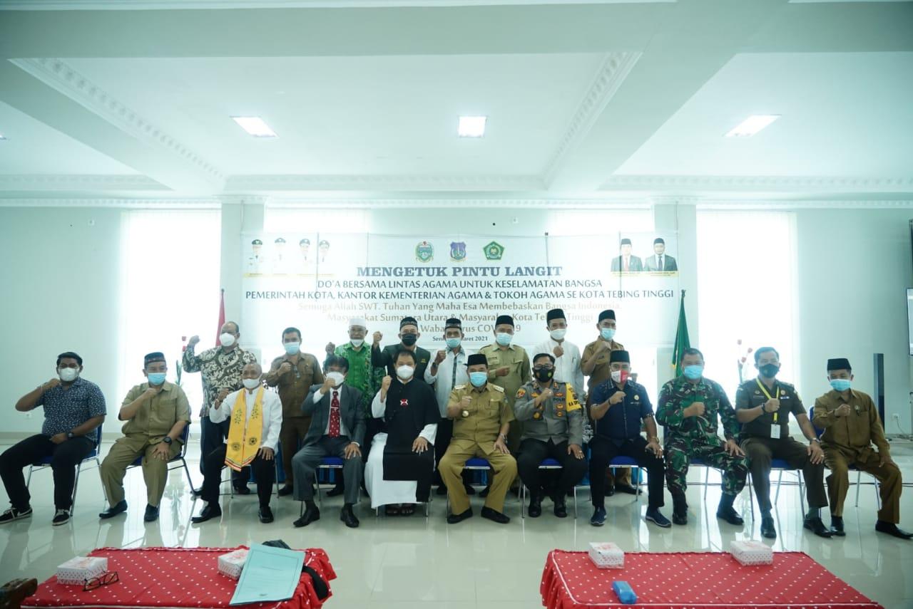 Tindaklanjuti Surat Edaran Gubernur Sumut, Walikota Tebingtinggi Gelar Doa Bersama Agar Terbebas Dari Pandemi Covid-19 dan Terorisme