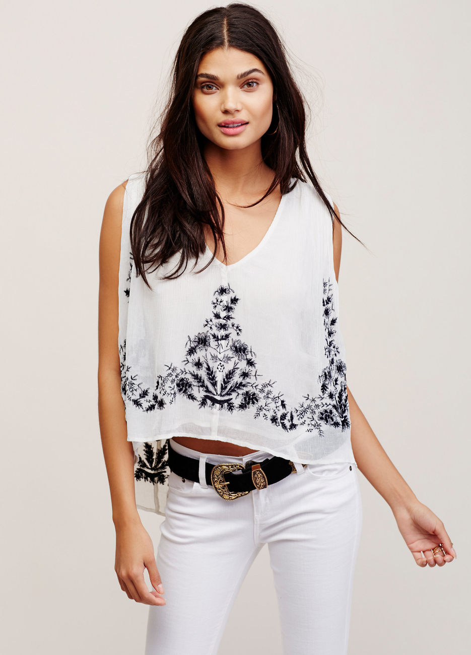 Free People Seasons of Love Embroidered Blouse