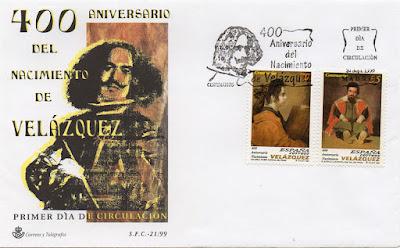Sobre PDC de los sellos dedicados al 400 aniversario del nacimiento de Velázquez, 1999