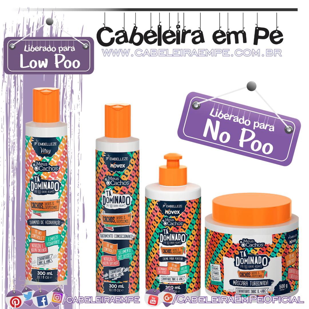 Shampoo (Low Poo), Condicionador, Máscara e Creme para Pentear (Low Poo) Meus Cachos Tá Dominado Cacheadas - Embelleze