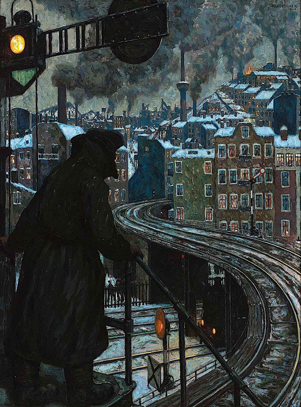 a Hans Baluschek 1920 painting of a rail worker at night