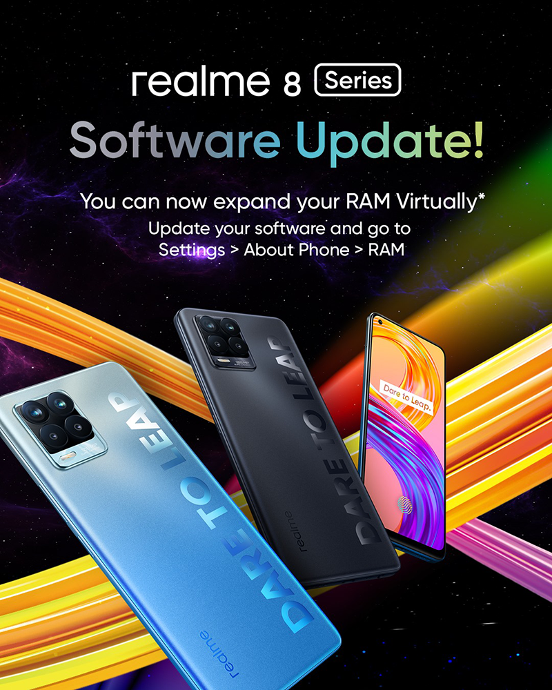 After the update, you can now extend the RAM of your realme 8 phone virtually