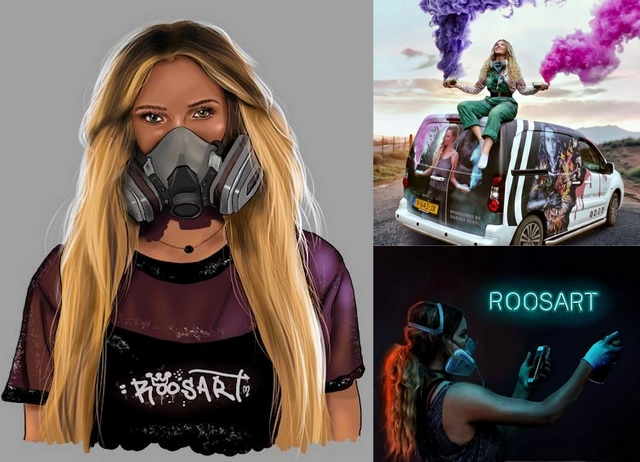 Girlboss interview met kunstenares street artist Rosalie de Graaf van RoosArt graffiti jonge ondernemer realistische schilderingen