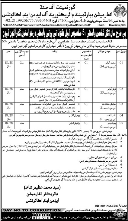 Directorate of Admin and Accounts Information Department Jobs 2020 For Junior Clerk, Stenographer & More