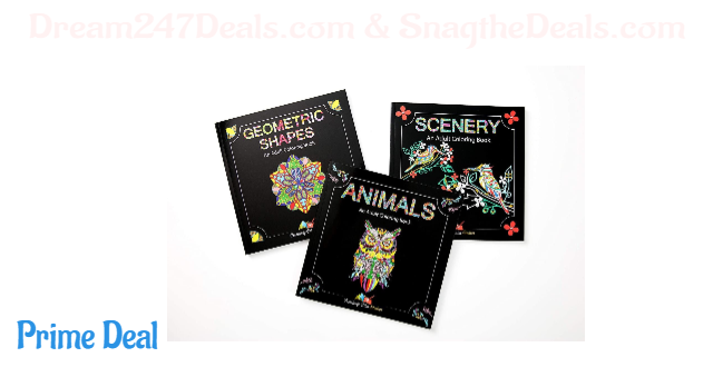 Adult Coloring Books Set - 3 Coloring Books for Grownups - 120 Unique Animals, Scenery & Mandalas Designs. Coloring Books for Adults Relaxation.