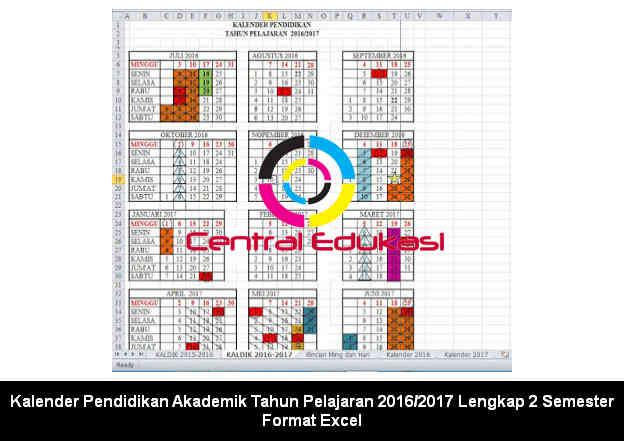 Kalender Pendidikan Akademik Tahun Pelajaran 2016/2017 Lengkap 2 Semester Format Excel