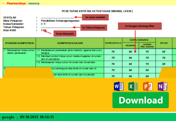 Aplikasi Cara Penetapan KKM SD Kelas 6 dengan Rentang Nilai Setiap Kriteria Menggunakan Microsoft Excel - Download