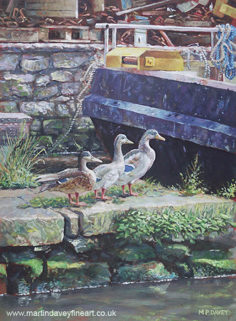 ducks on quay side art Dorset