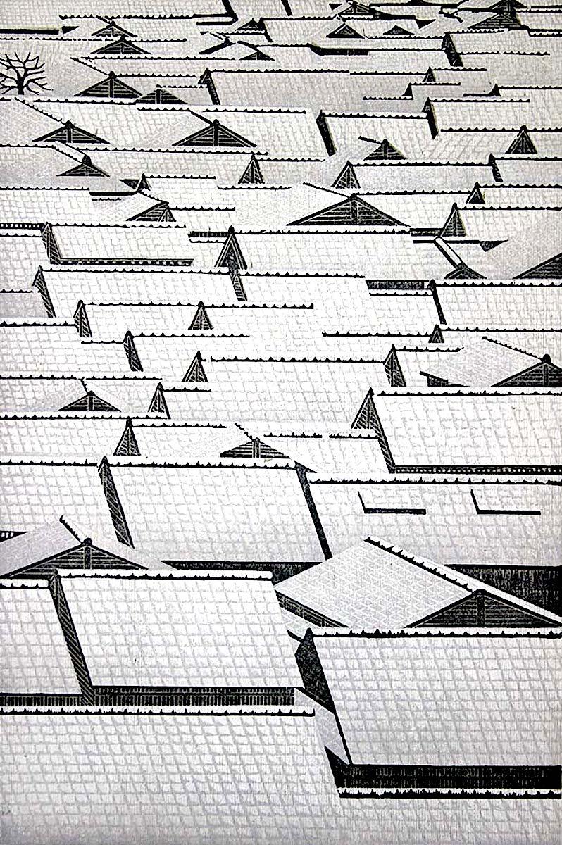 a Ray Morimura print od snowy rooftops