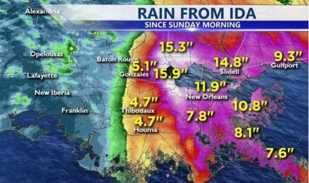 Hurricane Idea rain fall totals map