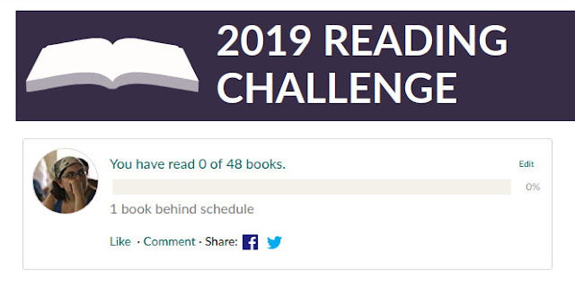 Screencap of a 2019 GoodReads challenge. One book behind, zero books read out of forty-eight.