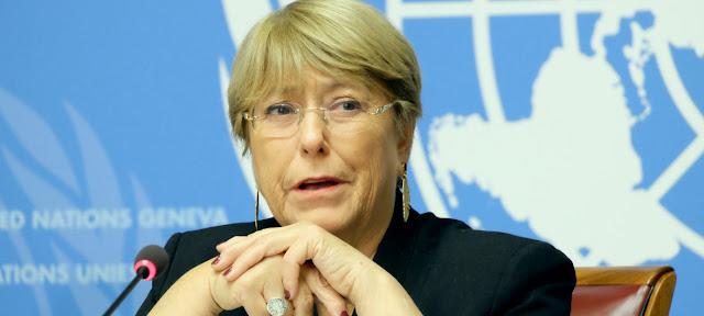 La Alta Comisionada de las Naciones Unidas para los Derechos Humanos, Michelle Bachelet, durante un encuentro con los medios de comunicación en Ginebra.Noticias ONU/Daniel Johnson