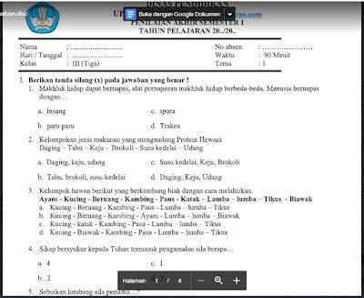 Soal PAS Kelas 3 Tema 1 Semester 1 Kurikulum 2013