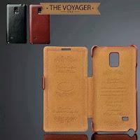 sarung casing hp kulit import leather case flip case cover Samsung Galaxy Note 4 luxury premium original asli vintage